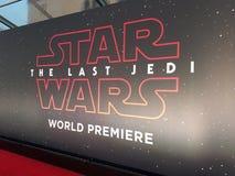 u. x27; Star Wars: Das letzte Jedi& x27; Weltpremiere Lizenzfreie Stockbilder