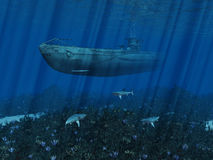 U99 Submarine. The U99 moves in shallow waters! Type VII U-boats were the workhorses of the German World War II U-boat-weapon Stock Images
