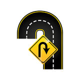 U-turn road sign concept graphic. Vector illustration eps 10 Stock Photos