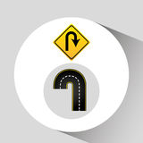 U-turn road sign concept graphic. Vector illustration eps 10 Stock Images