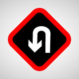 U-Turn Roadsign - road sign with turn symbol isolated Royalty Free Stock Image