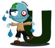 U for Undead. The letter w for the word werewolf Stock Photo