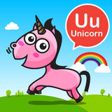 U Unicorn color cartoon and alphabet for children to learning ve Stock Images