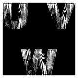 U, V, W, Letters White on a black background. Wood Design Vector. Illustration royalty free illustration
