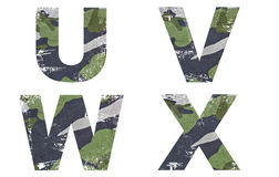 U, V, W, X Alphabet From Military Fabric Texture. Stock Photo