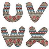 U V W X decor letters Stock Photo