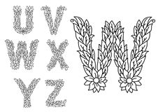 U, v, w, x, y and z floral letters Stock Photography