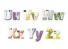 U; v; w; x; y; z listy Zdjęcie Stock