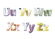 U; v; w; x; y; z  letters Stock Photo