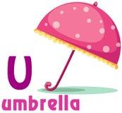 U van het alfabet met paraplu Stock Afbeelding