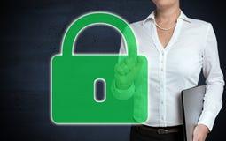 U-Verschlussmit berührungseingabe bildschirm wird von der Geschäftsfrau gezeigt lizenzfreie stockbilder
