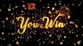 U wint Abstracte deeltjes en schittert de kaarttekst van de vuurwerkgroet royalty-vrije illustratie
