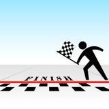 U wint race & krijgt geruite vlag bij afwerkingslijn Stock Foto