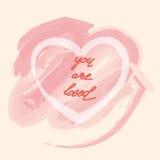 U wordt gehouden van, hand die de Dag van Valentine van letters voorzien Royalty-vrije Stock Afbeelding