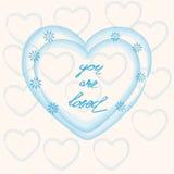 U wordt gehouden van, hand die de Dag van Valentine van letters voorzien Royalty-vrije Stock Foto's