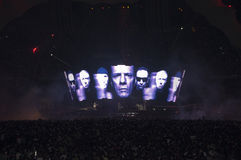 U2 360 Show in Brazil. U2 360 Show in Sao Paulo, Brazil, on april 9, 201, first of three shows in the city. Gigantic screen shows the members of the band Royalty Free Stock Photography