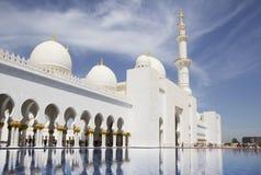 The UAE. Abu-Dhabi. White mosque. The main entrance. Stock Image