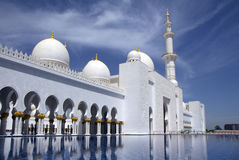 UAE, Abu-Dhabi, the White mosque. The mosque of Sheikh Zayed in Abu Dhabi is the largest mosque in the United Arab Emirates and the sixth largest mosque in the Royalty Free Stock Images
