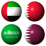 UAE Bahrain Saudi Arabia Qatar flags Royalty Free Stock Photos