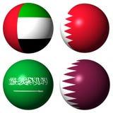 UAE Bahrain Saudi Arabia Qatar flags. Flag Spheres UAE Bahrain Saudi Arabia Qatar Royalty Free Stock Photos