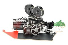 UAE cinematography, film industry concept. 3D rendering. Isolated on white background Stock Photo