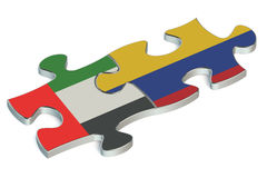 UAE and Colombia puzzles. On white background Stock Images