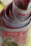 Uae currency 100 dirham notes royalty free stock photo