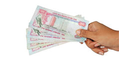 UAE currency. Held by a women Royalty Free Stock Photos