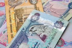 UAE currency - 500 dirhams note Closeup Stock Images