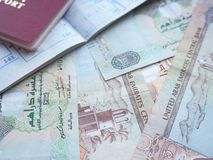 UAE dirham currency notes and coins. Royalty Free Stock Image