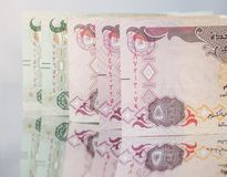 UAE dirham currency notes and coins. Stock Photography