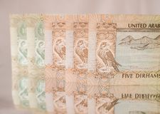 UAE dirham currency notes and coins. Stock Images