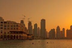 UAE/DUBAI-14 9月2012日落在迪拜 免版税库存照片