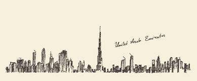 UAE Dubai City Skyline Hand Drawn, Engraved Vector Stock Photos