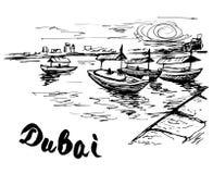 UAE - Dubai creek boats at the creek wharf. Isolated on white background royalty free illustration