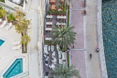 UAE/DUBAI 20 DEZ 2018 - Odg?rny widok Dubaj Marina deptak UAE zdjęcia stock