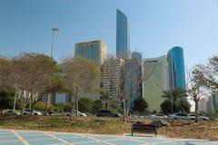 Buildings on Corniche road in Abu Dhabi, United Arab Emirates. UAE, DUBAI, FEBRUARY 3, 2016: Buildings on Corniche road in Abu Dhabi - capital and second most royalty free stock photo