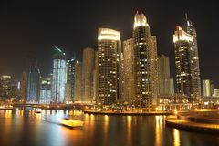 Dubai Marina at night, United Arab Emirates. UAE, DUBAI, OCTOBER 20, 2011: Dubai Marina at night, United Arab Emirates, Persian Gulf, Arabian Peninsula, Middle royalty free stock photography