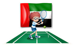 The UAE flag at the back of a tennis player Royalty Free Stock Photography