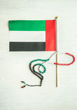 UAE flag and rosary Royalty Free Stock Photos