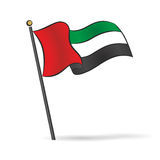 UAE flag waving on the wind Vector Illustration. United Arab Emirates flag waving on the wind Vector Illustration Royalty Free Stock Photos