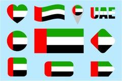 UAE-flaggasamling Vektor den Förenade Arabemiraten flaggauppsättningen Lägenhet isolerade symboler Traditionella färger Rengöring stock illustrationer