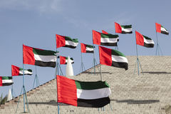 UAE flags in Mezairaa Royalty Free Stock Photography
