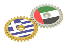 UAE and Greece flags on a gears, 3D rendering Stock Photo