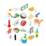 UAE icons set, isometric style. UAE icons set. Isometric set of 25 uae vector icons for web isolated on white background Royalty Free Stock Photo