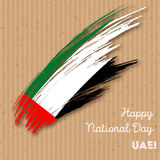 UAE Independence Day Patriotic Design. Expressive Brush Stroke in National Flag Colors on kraft paper background. Happy Independence Day UAE Vector Greeting Stock Images