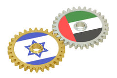 UAE and Israel flags on a gears, 3D rendering Stock Photography