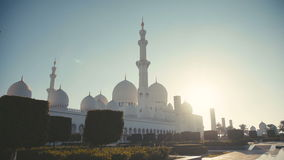 UAE, 2017: The majestic white mosque at dawn. stock footage