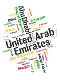 UAE map and cities. UAE map and words cloud with larger cities Royalty Free Stock Image