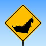 UAE map on road sign. Square poster with UAE country map on yellow rhomb road sign. Vector illustration stock illustration